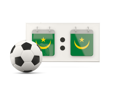 national team: Flag of mauritania, football with scoreboard and national team flag. 3D illustration Stock Photo