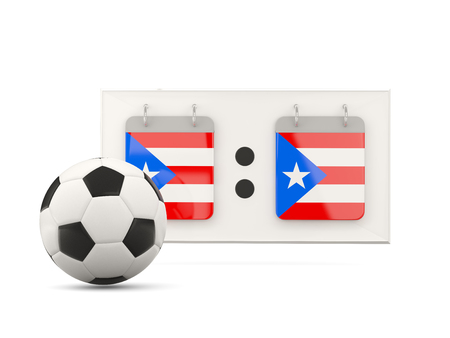 national team: Flag of puerto rico, football with scoreboard and national team flag. 3D illustration