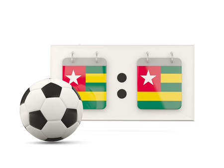 national team: Flag of togo, football with scoreboard and national team flag. 3D illustration