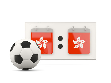 national team: Flag of hong kong, football with scoreboard and national team flag. 3D illustration