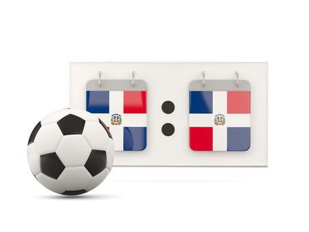 national team: Flag of dominican republic, football with scoreboard and national team flag. 3D illustration