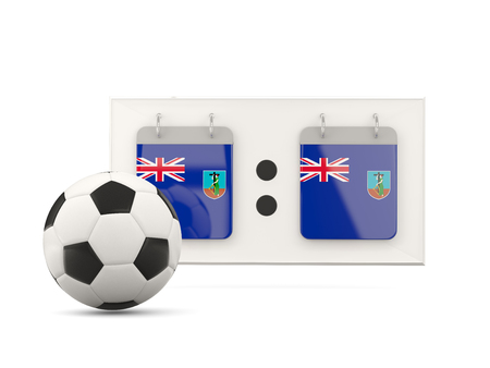 national team: Flag of montserrat, football with scoreboard and national team flag. 3D illustration