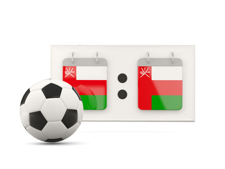 national team: Flag of oman, football with scoreboard and national team flag. 3D illustration