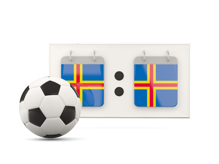 national team: Flag of aland islands, football with scoreboard and national team flag. 3D illustration