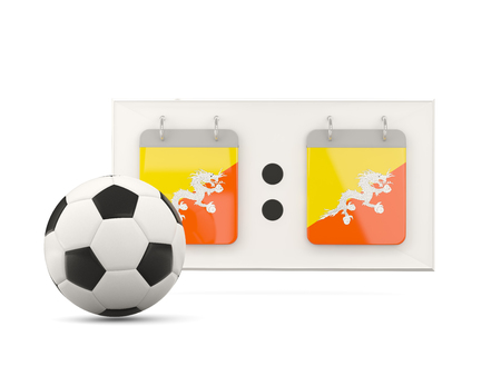 national team: Flag of bhutan, football with scoreboard and national team flag. 3D illustration Stock Photo