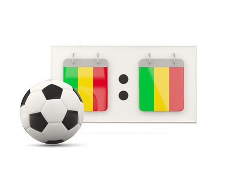 national team: Flag of mali, football with scoreboard and national team flag. 3D illustration
