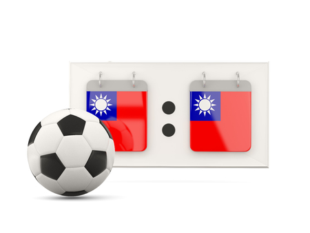 national team: Flag of republic of china, football with scoreboard and national team flag. 3D illustration