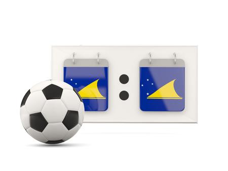 tokelau: Flag of tokelau, football with scoreboard and national team flag. 3D illustration