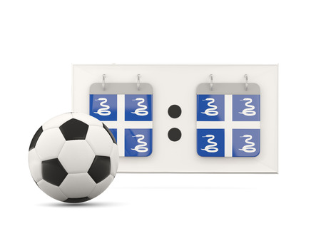 martinique: Flag of martinique, football with scoreboard and national team flag. 3D illustration