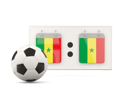 national team: Flag of senegal, football with scoreboard and national team flag. 3D illustration