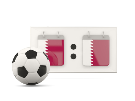 national team: Flag of qatar, football with scoreboard and national team flag. 3D illustration Stock Photo