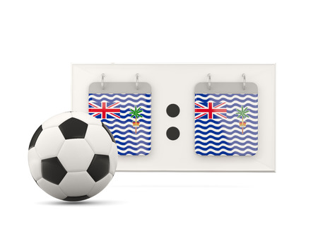 national team: Flag of british indian ocean territory, football with scoreboard and national team flag. 3D illustration