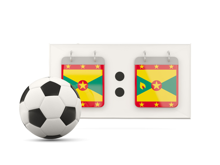 national team: Flag of grenada, football with scoreboard and national team flag. 3D illustration