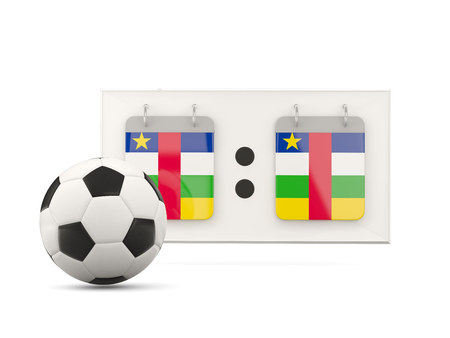national team: Flag of central african republic, football with scoreboard and national team flag. 3D illustration