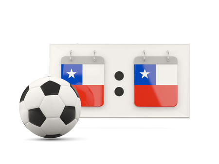 national team: Flag of chile, football with scoreboard and national team flag. 3D illustration Stock Photo