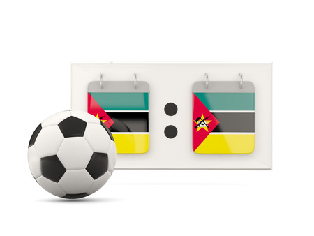 national team: Flag of mozambique, football with scoreboard and national team flag. 3D illustration