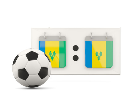 national team: Flag of saint vincent and the grenadines, football with scoreboard and national team flag. 3D illustration Stock Photo