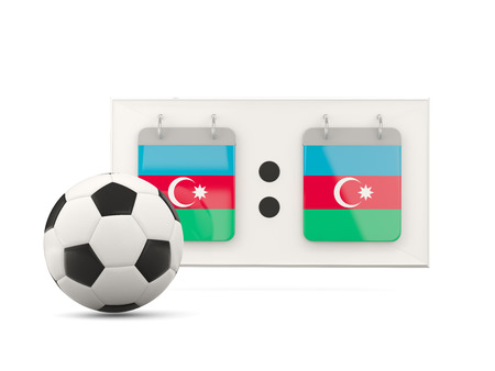 national team: Flag of azerbaijan, football with scoreboard and national team flag. 3D illustration