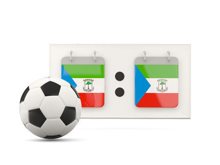 national team: Flag of equatorial guinea, football with scoreboard and national team flag. 3D illustration