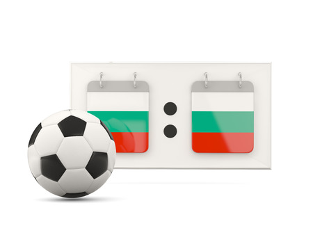 national team: Flag of bulgaria, football with scoreboard and national team flag. 3D illustration Stock Photo