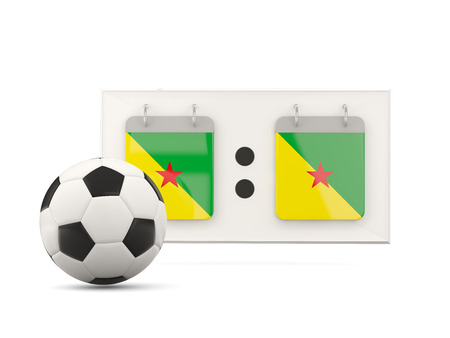 french guiana: Flag of french guiana, football with scoreboard and national team flag. 3D illustration