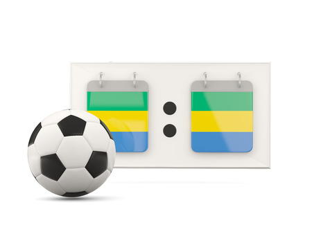 national team: Flag of gabon, football with scoreboard and national team flag. 3D illustration Stock Photo