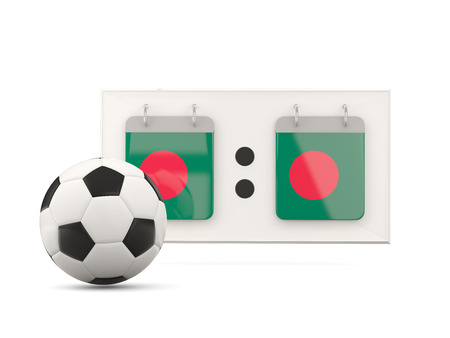 national team: Flag of bangladesh, football with scoreboard and national team flag. 3D illustration