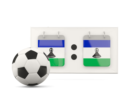 national team: Flag of lesotho, football with scoreboard and national team flag. 3D illustration Stock Photo
