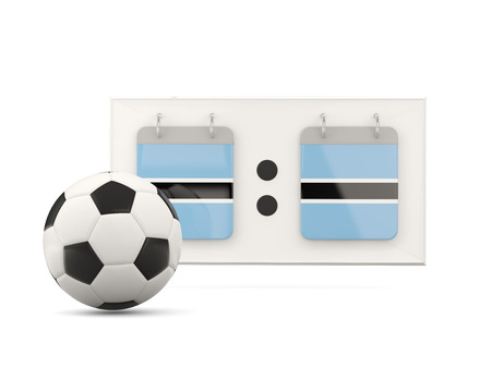 national team: Flag of botswana, football with scoreboard and national team flag. 3D illustration Stock Photo