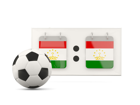 national team: Flag of tajikistan, football with scoreboard and national team flag. 3D illustration