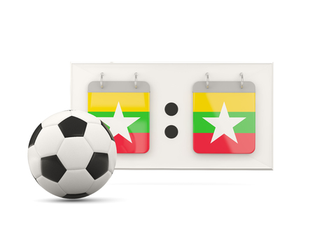 national team: Flag of myanmar, football with scoreboard and national team flag. 3D illustration