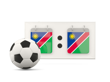national team: Flag of namibia, football with scoreboard and national team flag. 3D illustration