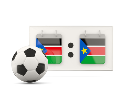 national team: Flag of south sudan, football with scoreboard and national team flag. 3D illustration Stock Photo