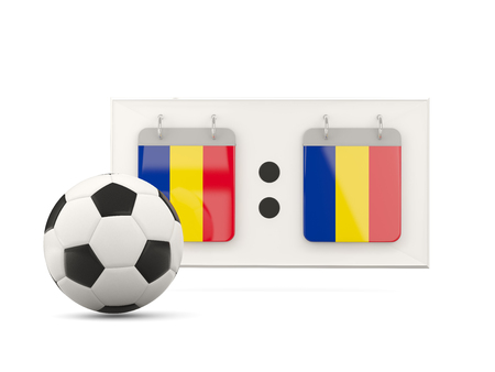 national team: Flag of romania, football with scoreboard and national team flag. 3D illustration