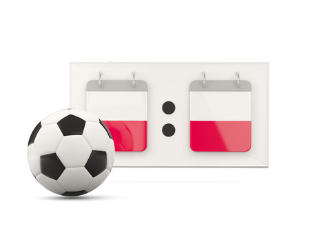 national team: Flag of poland, football with scoreboard and national team flag. 3D illustration