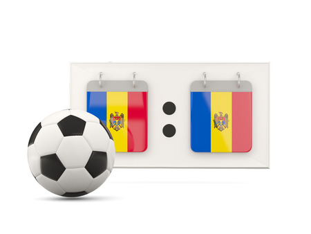 national team: Flag of moldova, football with scoreboard and national team flag. 3D illustration Stock Photo