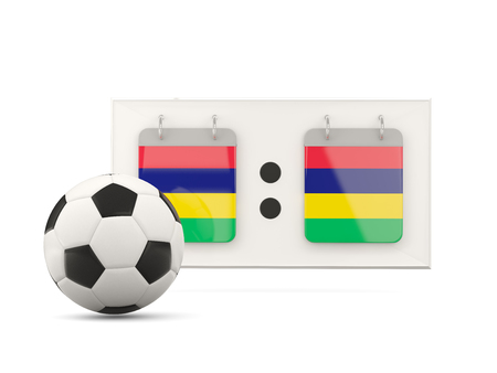 national team: Flag of mauritius, football with scoreboard and national team flag. 3D illustration