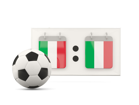 national team: Flag of italy, football with scoreboard and national team flag. 3D illustration Stock Photo