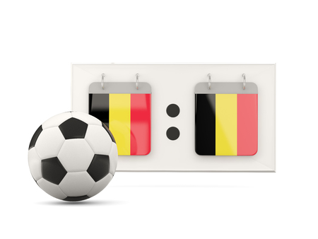 national team: Flag of belgium, football with scoreboard and national team flag. 3D illustration