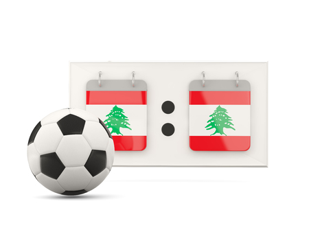 national team: Flag of lebanon, football with scoreboard and national team flag. 3D illustration