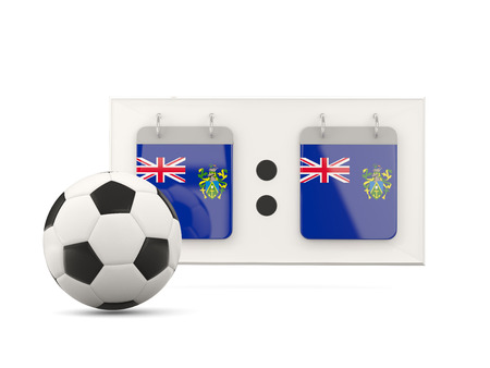 national team: Flag of pitcairn islands, football with scoreboard and national team flag. 3D illustration