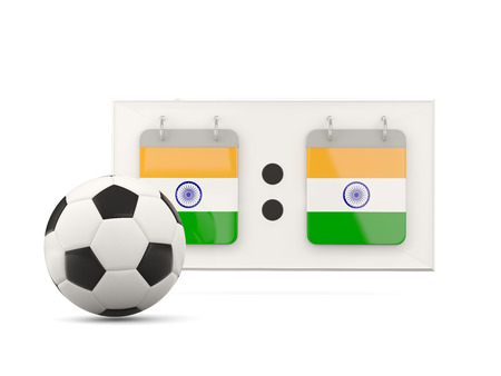 national team: Flag of india, football with scoreboard and national team flag. 3D illustration Stock Photo