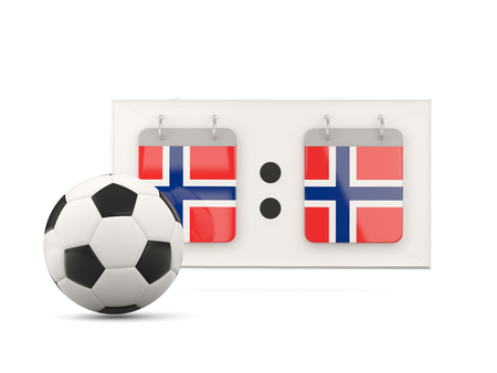 national team: Flag of norway, football with scoreboard and national team flag. 3D illustration