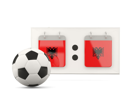 national team: Flag of albania, football with scoreboard and national team flag. 3D illustration Stock Photo