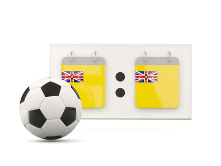 national team: Flag of niue, football with scoreboard and national team flag. 3D illustration Stock Photo