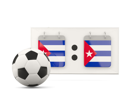national team: Flag of cuba, football with scoreboard and national team flag. 3D illustration