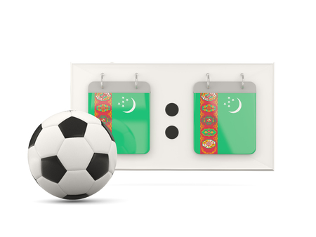 national team: Flag of turkmenistan, football with scoreboard and national team flag. 3D illustration Stock Photo