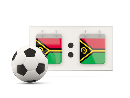 national team: Flag of vanuatu, football with scoreboard and national team flag. 3D illustration