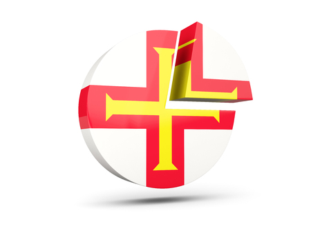 guernsey: Flag of guernsey, round diagram icon isolated on white. 3D illustration
