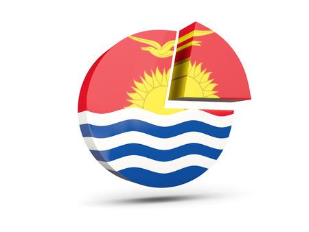 Flag of kiribati, round diagram icon isolated on white. 3D illustration